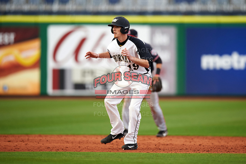 Alabama State Hornets Chris Biocic (19) leads off second base during a game against the Ball State Cardinals on February 18, 2017 at Spectrum Field in Clearwater, Florida.  Ball State defeated Alabama State 3-2.  (Mike Janes/Four Seam Images)