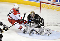 HERSHEY, PA - FEBRUARY 09: Hershey Bears goalie Vitek Vanecek (30) makes a save on a shot by Charlotte Checkers right wing Julien Gauthier (12) as Gauthier stops and sprays him in the crease during the Charlotte Checkers vs. Hershey Bears AHL game February 9, 2019 at the Giant Center in Hershey, PA.