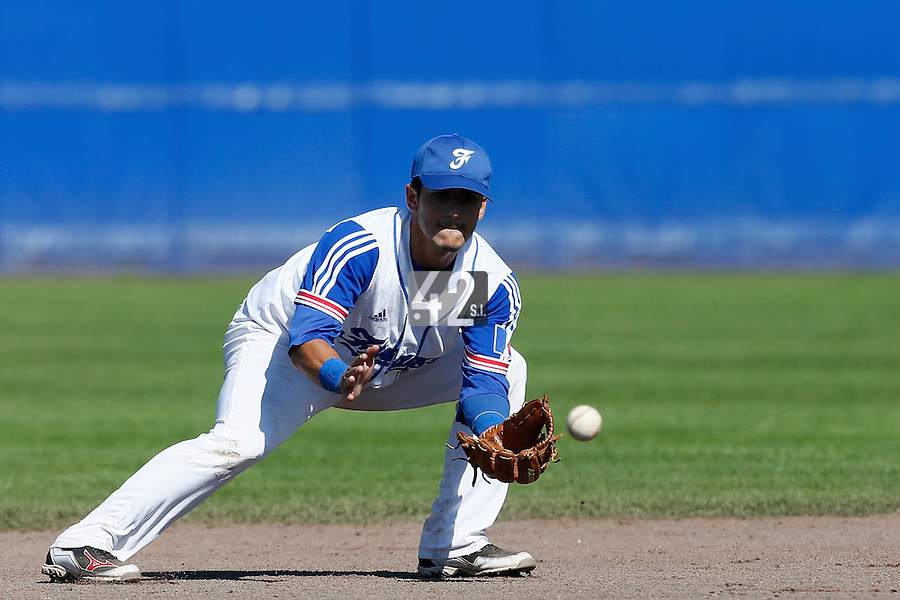 09 September 2012: France Maxime Lefevre warms up during the infield outfield practice prior to France 9-8 win in over Belgium, at the 2012 European Championship, in Utrecht, Netherlands.