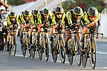 Mitchelton-Scott in action during Stage 1 of La Vuelta 2019, a team time trial running 13.4km from Salinas de Torrevieja to Torrevieja, Spain. 24th August 2019.<br /> Picture: Luis Angel Gomez/Photogomezsport | Cyclefile<br /> <br /> All photos usage must carry mandatory copyright credit (© Cyclefile | Luis Angel Gomez/Photogomezsport)