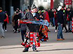 The dreaded half and half scarf on sale outside the stadium during the Premier League match at Old Trafford, Manchester. Picture date: 8th March 2020. Picture credit should read: Darren Staples/Sportimage