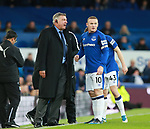 Sam Allardyce manager of Everton talks to Wayne Rooney of Everton during the premier league match at the Goodison Park Stadium, Liverpool. Picture date 2nd December 2017. Picture credit should read: Simon Bellis/Sportimage