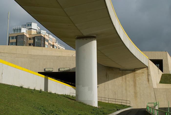A concrete overpass at Brighton Marina. England 2008.