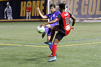 Buffalo, NY - Saturday Sept. 17, 2016: Khwanruedee Saengchan, Taylor Smith during a friendly international match between the Western New York Flash and the Women's National Team of Thailand at Demske Sports Complex at Canisius College. The United States defeated the Netherlands 3-1.