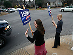 Sarah Stringer, right, and Mary Lee Welch campaign for HIllary Clinton on Super Tuesday, Feb 05, 2008 in Little Rock, Arkansas.
