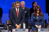 United States President Barack Obama and Cristina Fernandez de Kirchner, Argentina's president, stand for a moment in silence for recently deceased Polish President Lech Kaczynski during the Nuclear Security Summit at the Washington Convention Center in Washington, D.C., U.S., on Tuesday, April 13, 2010. Ukraine's agreement to relinquish its entire stockpile of highly enriched uranium gave Obama the first concrete result for a summit he convened on securing the world's atomic material. .Credit: Andrew Harrer / Pool via CNP