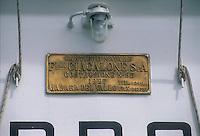 """- pusher of """"Fluviopadana"""" company with barges in navigation on the Po river, shipyard's plate ....- spintore della compagnia """"Fluviopadana"""" e chiatte in navigazione sul fiume Po, targa del cantiere navale"""