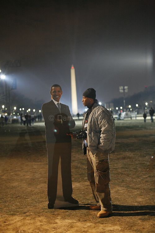 Cardboard cutout of Obama after his inauguration