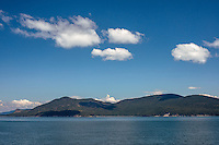 WASJ_D258 - USA, Washington, San Juan Islands, Cumulus clouds over Blakely Island.