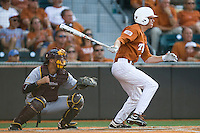 Texas Longhorns outfielder Paul Montalbano #35 at bat against the Arizona State Sun Devls in NCAA Tournament Super Regional baseball on June 10, 2011 at Disch Falk Field in Austin, Texas. (Photo by Andrew Woolley / Four Seam Images)