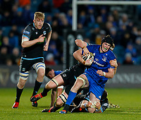 28th February 2020; RDS Arena, Dublin, Leinster, Ireland; Guinness Pro 14 Rugby, Leinster versus Glasgow; Ryan Baird of Leinster is tackled by Rob Harley and George Horne of Glasgow