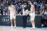 Gabriel Deck (l) Pablo Laso and Sergio Llull (r) during Real Madrid vs FC Barcelona final of Supercopa Endesa. September 22, 2019. (ALTERPHOTOS/Francis González)