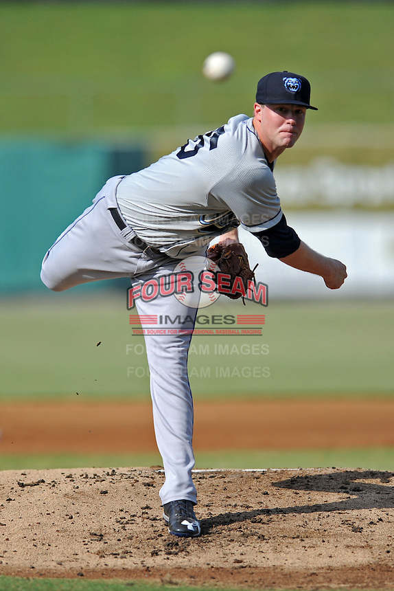Mobile BayBears starting pitcher Archie Bradley #25 delivers a pitch during a game against the Tennessee Smokies at Smokies Park on August 25, 2013 in Kodak, Tennessee. The BayBears won the game 2-0. (Tony Farlow/Four Seam Images)