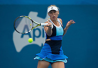 Caroline Wozniacki (DEN)<br /> <br /> Tennis - APIA International  - Sydney -  Olympic Park  -  Holmbush - Australia  - Tuesday 7th January 2014. <br /> <br /> &copy; AMN Images, 8 Cedar Court, Somerset Road, London, SW19 5HU<br /> Tel - +44 7843383012<br /> mfrey@advantagemedianet.com<br /> www.amnimages.photoshelter.com<br /> www.advantagemedianet.com<br /> www.tennishead.net