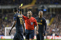 Referee Ivan Bebek hands Wallace of Monaco a yellow card during the UEFA Europa League group match between Tottenham Hotspur and Monaco at White Hart Lane, London, England on 10 December 2015. Photo by Andy Rowland.