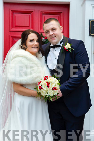 Aimee Halpin, daughter of Kay Halpin, Ballybunion and Michael Breen, son of Jack & Kate Breen, Meelin, Co. Cork who were married in St John's Church, Ballybunion by Fr. Sean Hanafin assisted by Fr. Denis Stritch on Tuesday last. Best man was Paudie Breen and the groomsmen were Tom White & Eamonn O'Connor. The bridesmaids were Holly Doyle, Sarah Mulvihill & Sarah Dee. The flower girls were Lily Mae Halpin, Lucy Breen & Evie Rose Walsh, The page boys were Darragh Daly, Oliver George McElligott & Sean Curtin. The reception was held in the Listowel Arms Hotel.