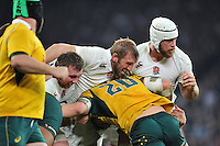 Matt Mullan, Chris Robshaw and Dave Attwood of England in action as England maul the ball down field. QBE International match between England and Australia on November 29, 2014 at Twickenham Stadium in London, England. Photo by: Patrick Khachfe / Onside Images