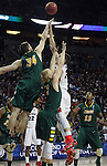 North Dakota State's Chris Kading (34) and AJ Jacobson (21) goes up against Gonzaga's Kyle Wiltjer (33) during the 2015 NCAA Division I Men's Basketball Championship's March 20, 2015 at the Key Arena in Seattle, Washington.   ©2015. Jim Bryant Photo. ALL RIGHTS RESERVED.