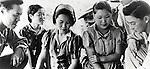 U.S.Army military police interrogating three Korean comfort women caught in Myitkyina. (Photo by Kingendai/AFLO)
