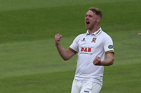 Jamie Porter of Essex celebrates taking the wicket of Alex Davies during Lancashire CCC vs Essex CCC, Specsavers County Championship Division 1 Cricket at Emirates Old Trafford on 9th June 2018