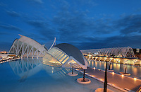 Museum of Sciences Principe Felipe, Eye of Wisdom , The Hemisphere, City of Arts and Sciences ; 1998 ; Santiago Calatrava (Valencia, Spain, 1951) ; Valencia, Comunidad Valenciana, Spain ; First area of the City of Arts and Sciences covering 14,000 square meters. Picture by Manuel Cohen