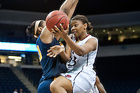 NORFOLK, VA--Amber Orrange makes two during play against West Virginia University at the Ted Constant Convocation Center at Old Dominion University for the second round of the 2012 NCAA Championships. The Cardinal advanced to the West Regionals in Fresno with a score of 72-55.