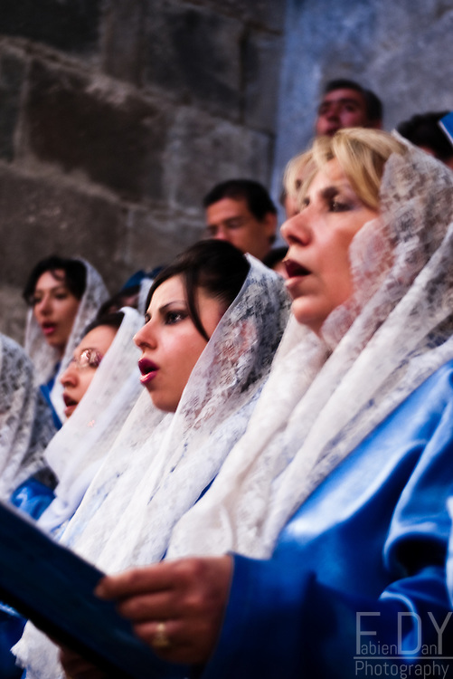 Armenian women singing in the choir during the mass at Saint Thaddeus Pilgrimage, at Qara Kelisa (Iran).