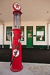 Historic 1923 and restored Texaco gas station with glass-bowl pump in downtown Rosalia, Wash.