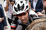 Tom Dumoulin (NED) Team Sunweb at the end of Stage 18 of the 2018 Giro d'Italia, running 196km from Abbiategrasso to Prato Nevoso, Italy. 24th May 2018.<br /> Picture: LaPresse/Massimo Paolone | Cyclefile<br /> <br /> <br /> All photos usage must carry mandatory copyright credit (&copy; Cyclefile | LaPresse/Massimo Paolone)