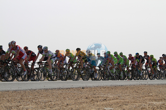 The pelethon at the 1st bonus sprint point near Umm Al Qahab during the 3rd Stage of the 2012 Tour of Qatar from Dukhan to Al Gharafa Stadium, Doha, Qatar, 7th February 2012 (Photo Eoin Clarke/Newsfile)