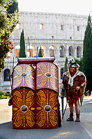 1st and 2nd century BC legionaries of the most famous Roman reenactment group, the Gruppo Storico Romano, pose in a Testudo formation (Tortoise, a Roman battle formation) in front of Coliseum during the event 'Piazza Italia' at Colle Oppio Park. Rome (Italy), July 21st 2020<br /> Foto Samantha Zucchi Insidefoto
