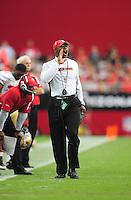 Sept. 13, 2009; Glendale, AZ, USA; San Francisco 49ers head coach Mike Singletary against the Arizona Cardinals at University of Phoenix Stadium. San Francisco defeated Arizona 20-16. Mandatory Credit: Mark J. Rebilas-