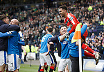 Martyn Waghorn lifts keeper Wes Foderingham off the ground in celebration