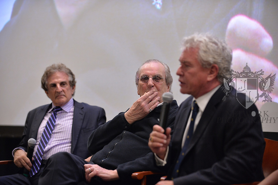 CORAL GABLES, FL - NOVEMBER 20:John Herzfeld, Danny Aiello and Tom Berenger attend Q&A session after the premiere screening Of 'Reach Me' Hosted by University Of Miami inside the BankUnited Center Fieldhouse at University of Miami on Thursday November 20, 2014 in Coral Gables, Florida. (Photo by Johnny Louis/jlnphotography.com)