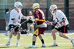 Orange, CA 05/02/10 - Ben Petraglia (Chapman # 44), Andrew Nordstrom (Chapman # 2) and Bryan Siegel (ASU # 8) in action during the Chapman-Arizona State MCLA SLC Division I final at Wilson Field on Chapman University's campus.  Arizona State defeated Chapman 13-12 in overtime.