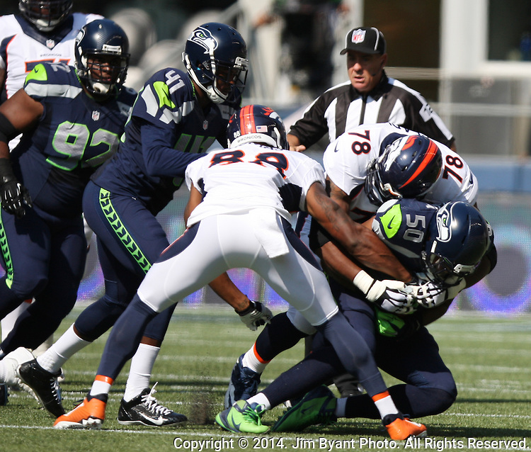 Seattle Seahawks  Denver Broncos in the quarter at CenturyLink Field in Seattle, Washington on September 21, 2014. The Seahawks won 26-20 in overtime.    ©2014. Jim Bryant Photo. All rights Reserved.