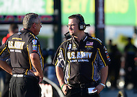 May 18, 2012; Topeka, KS, USA: NHRA crew members for top fuel dragster driver Tony Schumacher during qualifying for the Summer Nationals at Heartland Park Topeka. Mandatory Credit: Mark J. Rebilas-