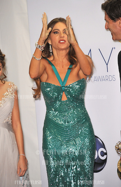 Modern Family star Sofia Vergara at the 64th Primetime Emmy Awards at the Nokia Theatre LA Live..September 23, 2012  Los Angeles, CA.Picture: Paul Smith / Featureflash