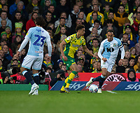 Norwich City's Russell Martin (center) under pressure from Blackburn Rovers' Elliott Bennett (right) <br /> <br /> Photographer David Horton/CameraSport<br /> <br /> The EFL Sky Bet Championship - Norwich City v Blackburn Rovers - Saturday 27th April 2019 - Carrow Road - Norwich<br /> <br /> World Copyright © 2019 CameraSport. All rights reserved. 43 Linden Ave. Countesthorpe. Leicester. England. LE8 5PG - Tel: +44 (0) 116 277 4147 - admin@camerasport.com - www.camerasport.com