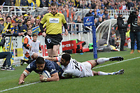 11th January 2020, Parc des Sports Marcel Michelin, Clermont-Ferrand, Auvergne-Rhône-Alpes, France; European Champions Cup Rugby Union, ASM Clermont versus Ulster;  Geoge Moala (asm) tackles Robert Baloucoune (ulster)