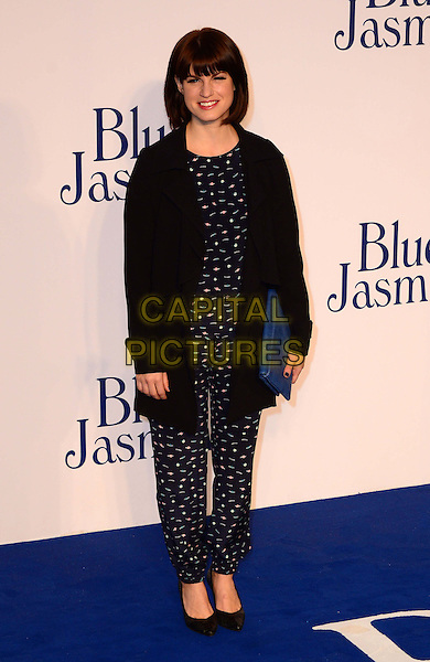 Jemima Rooper<br /> UK Premiere of 'Blue Jasmine' at the Odeon West End, Leicester Square. London, England.<br /> 17th September 2013<br /> full length black jacket blue pattern jumpsuit clutch bag<br /> CAP/BF<br /> &copy;Bob Fidgeon/Capital Pictures
