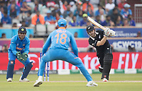 Kane Williamson (New Zealand) threads the ball wide of Virat Kolli (India) during India vs New Zealand, ICC World Cup Semi-Final Cricket at Old Trafford on 9th July 2019