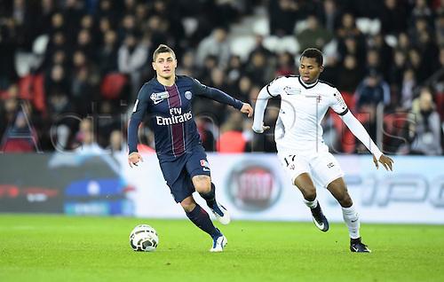 11.01.2017. Paris, France. French league cup football, Paris Saint Germain versus FC Metz.  Marco Verrati (psg) breaks away from the challenge of Habib Diallo ( Metz )