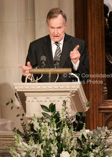 Washington, D.C. - January 2, 2007 -- Former United States President George H. W. Bush eulogizes former President Gerald R. Ford during a State Funeral service at the Washington National Cathedral in Washington,  Tuesday, January 2, 2007.<br /> Credit: Pablo Martinez Monsivais-Pool via CNP