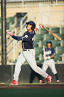 Emmanuel Marrero (16) of the Lakewood BlueClaws follows through on his swing against the Kannapolis Intimidators at Kannapolis Intimidators Stadium on August 11, 2016 in Kannapolis, North Carolina.  The Intimidators defeated the BlueClaws 3-1.  (Brian Westerholt/Four Seam Images)