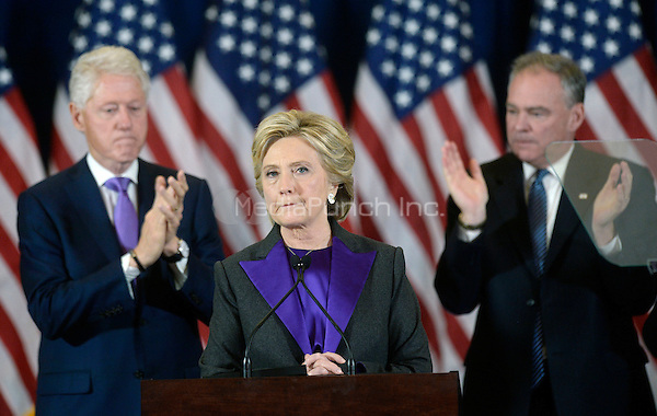 Democratic Presidential candidate Hillary Clinton delivers her concession speech Wednesday, from the New Yorker Hotel's Grand Ballroom in New York, NY, on November 9, 2016.  <br /> Credit: Olivier Douliery / Pool via CNP /MediaPunch