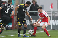 Fleetwood Town's Lewis Coyle battles with AFC Wimbledon's Andy Barcham <br /> <br /> Photographer Mick Walker/CameraSport<br /> <br /> Emirates FA Cup Third Round - Fleetwood Town v AFC Wimbledon - Saturday 5th January 2019 - Highbury Stadium - Fleetwood<br />  <br /> World Copyright © 2019 CameraSport. All rights reserved. 43 Linden Ave. Countesthorpe. Leicester. England. LE8 5PG - Tel: +44 (0) 116 277 4147 - admin@camerasport.com - www.camerasport.com