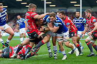 Tom Dunn of Bath Rugby takes on the Gloucester Rugby defence. Gallagher Premiership match, between Gloucester Rugby and Bath Rugby on April 13, 2019 at Kingsholm Stadium in Gloucester, England. Photo by: Patrick Khachfe / Onside Images