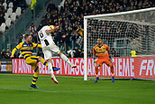 2nd February 2019, Allianz Stadium, Turin, Italy; Serie A football, Juventus versus Parma; Sami Khedira of Juventus beats Riccardo Gagliolo of Parma to the header and hits the post