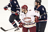 Chris Calnan (BC - 11), Kyle Huson (UConn - 4) - The Boston College Eagles defeated the visiting University of Connecticut Huskies 3-2 on Saturday, January 24, 2015, at Kelley Rink in Conte Forum in Chestnut Hill, Massachusetts.